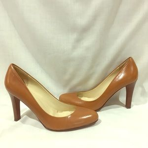 Ralph Lauren leather pumps stacked heel